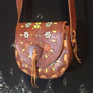 🌟Handmade Tooled Leather Flower Child Purse